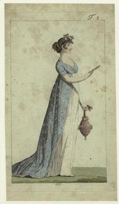 Awesome Regency open robe and headdress. From a fashion plate, Journal des Luxus und der Moden (? Regency Dress, Regency Era, 1800s Fashion, Vintage Fashion, Steampunk Fashion, Gothic Fashion, Medieval Fashion, Historical Costume, Historical Clothing