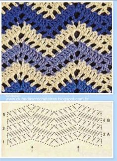 Diy Crafts - For all looking for beautiful crochet stitches with two colors, put together a wonderful collection of crochet stitches that Chevrons Au Crochet, Zig Zag Crochet, Gilet Crochet, Crochet Ripple, Crochet Motifs, Crochet Diagram, Crochet Stitches Patterns, Crochet Chart, Crochet Granny
