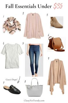 Fall Essentials Under $35 -Since the Fall season is here, it's time to bring out the cardigans, jackets and any other layers you may have. A scarf is the perfect accessory to wear when it's Fall, and a tee, cardigan, jeans, booties, loafers, tote, crossbody.