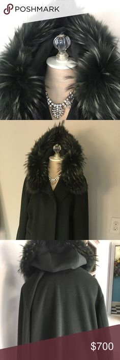 Full length fur trimmed dress coat Forrest green genuine fur trimmed full length dress coat. 30% angora, 10% cashmere, 60% wool fully lined size 6 Made in Italy Cinzia Rocca Jackets & Coats
