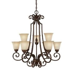 Capital Lighting 3589CB-287 - Barclay 9 Light Chandelier, Chesterfield Brown