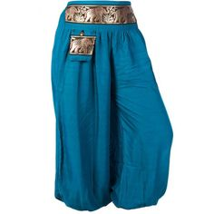 Womens Thai Elephant Pattern Harem Pants Baggy Smocked Pants Trousers... ($13) ❤ liked on Polyvore featuring pants, genie, doll clothes, blue, women's clothing, blue harem pants, blue pants, elephant print pants, boho print pants and patterned harem pants