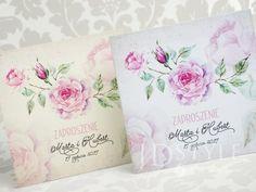 Zaproszenia ślubne Vintage róże na zdjęciu papier ecru i biały VI-52