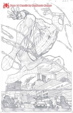 Amazing Spider-Man pg 14 pencils by Humberto Ramos Comic Book Artists, Comic Book Characters, Comic Artist, Comic Character, Comic Books Art, Spiderman Kunst, Comics Spiderman, Spiderman Drawing, Batman