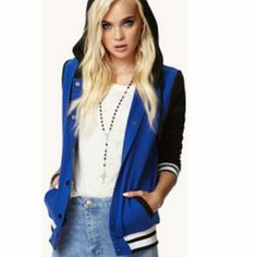 Blue and black varsity jacket In good condition. Gently worn. More pics coming soon Forever 21 Jackets & Coats
