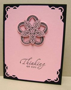 SU Triple Treat Flower  http://nutty4stampin.blogspot.com/20...le-pretty.html     Basic Black with Pretty in Pink