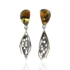 Rainbow Amber Silver Earrings  from www.monartti.com | #earrings #dropearrings #StatementJewellery #silver #amber #jewellery #gemstones Silver Drop Earrings, Statement Earrings, Semi Precious Gemstones, Amber, Rainbow, Jewellery, Sterling Silver, Silver Earrings, Rain Bow