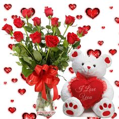 Get 15 Red Roses with a matching ribbon bow and Cute Teddy Happy Birthday Flower, Happy Birthday Images, Birthday Wishes Messages, Happy Birthday Wishes, Teddy Pictures, Teddy Bear Cartoon, Love You Gif, Photo Frame Design, Rainbow Roses