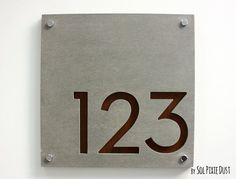 Modern House Numbers, Square Concrete with Marine Plywood - Contemporary Home Address - Sign Plaque - Door Number