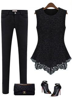 Crochet Lace Tank - Black