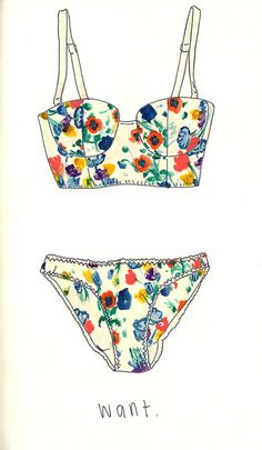 #illustration #floral #lingerie Stop by my Etsy Shop: www.etsy.com/shop/TeoldDesign