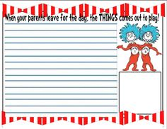 dr seuss the cat in the hat writing activities | Obviously the lines are for writing, the smaller box at the bottom is ...