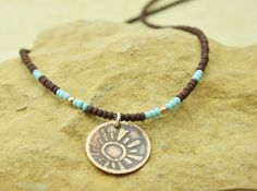 Brown  turquoise glass seed beads and copper by suenodesigns, $24.00
