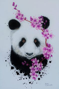Oaohara: panda by scandycurll easy painting to try в 2019 г. Cute Animal Quotes, Cute Animal Videos, Cute Animal Pictures, Cute Baby Animals, Animals And Pets, Horse Smiling, Panda Painting, Painting Canvas, Cartoon Mom