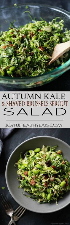A light gluten free Autumn Kale & Shaved Brussel Sprout Salad infused with crispy bacon, edamame, and a surprise sweet fruit that compliments the dish perfectly. The ultimate side dish you need on your table this holiday season! |joyfulhealthyeats.com #ad #soyinspired