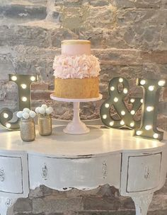 Rustic chic pink and gold wedding cake; Featured Cake: Baking Chick