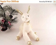 Reindeer Chistmas Decoration White and Gold by SpringJewelryThings