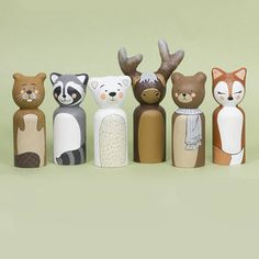 Woodland Animals Peg Dolls / Nursery Decor / Forest Cake Topper - Home Page Wood Peg Dolls, Wood Toys, Woodland Nursery Decor, Forest Nursery, Kegel, Presents For Boyfriend, Woodland Animals, Woodland Creatures, Wooden Pegs