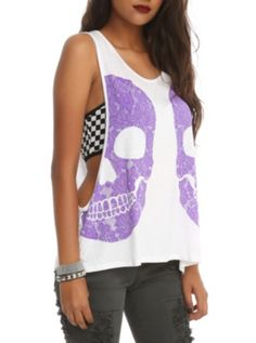 White tank top with a double purple skulls design. Cute Tank Tops, Tank Girl, Skull Design, White Tank, Polyvore Outfits, Hot Topic, Cute Outfits, My Style, Purple