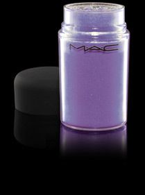 "MAC Pigment in Violet. Try layering this over a dark base (such as MAC's Blackground). Can be layered over shadow as well to create a ""pop"" of color.    Pros: Dual  uses and stunning color. Certain MAC pigments are two colors in one--like MAC's ""Blue Brown.""  Cons: Don't spill this on your carpet! Can be very messy. Lots of fallout. Not easy to use for someone new to makeup."