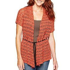 St. John's Bay Short-Sleeve Belted Cardigan - jcpenney
