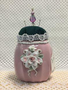 Item# 3s - Vintage Vase, Pearled Lace Trim $10