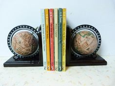 Vintage Mid Century Modern Globe Bookends by RavishingRetro, $38.00