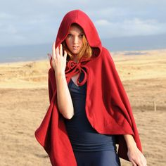 Red Riding Hood Costume - Cape Cloak - Organic Cotton - Halloween - Eco Friendly - Organic Clothing