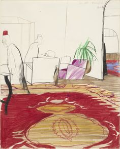 "thunderstruck9: "" David Hockney (British, b. 1937), Cecil Hotel, 1963. Crayon, coloured pencil and pencil on paper, 31.7 x 25.4 cm. """