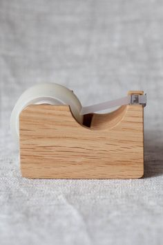 Blue Button Shop - Wooden Tape Dispenser in Natural or Brown - OAK15NSTAUWOO102926
