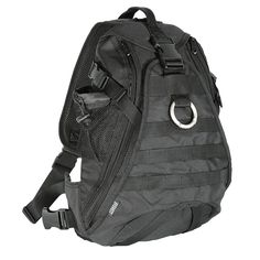 "Tactical Sling Bag - Tactical Sling Bag Hydration compatible sling bag has side compression straps. Padded back panel delivers enhanced ventilation and comfort. Easy access large mesh pocket and side mesh pocket designed to carry small items. Universal straps on front for attaching pouches. Separate zippered compartment on back will hold 2.0 liter water bladder (not included). Adjustable padded shoulder strap and waist belt. Measures 13 1/2""L x 6""W x 18 1/2""H. Weighs 1.46 lbs. Available in…"