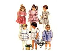 80s McCalls 4067 Girls Dress 6 Styles Wedding or Party Frock Size 6