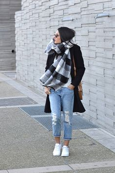Black coat plus sign + white shirt + cropped boyfriend jeans + white sneakers  + plaid blanket scarf + tan shoulder bag