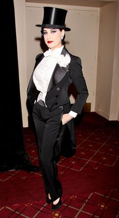 : Photo Debra Messing and Dita Von Teese get all fancy for the 2012 NYRP Hulaween Benefit Gala held at the Waldorf-Astoria Hotel on Wednesday (October in New York City. Drag King, Dita Von Teese Style, Dita Von Tease, Formal Tuxedo, Debra Messing, Old Hollywood Glamour, Vintage Glamour, Lingerie, Chanel
