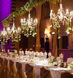 Photographer: Paula Andrea Photography; Elegant wedding reception with beautiful chandeliers;