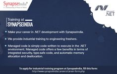 Make your career in .NET development with SynapseIndia trainings program.   Checkout: http://synapseindia-trainings.blogspot.in/2017/06/synapseindia-trainings-for-engineering-freshers.html
