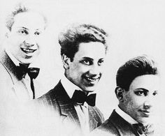 Sort of the New Kids on the Block of 1912 - Left to right: Harpo, Groucho, and Gummo.  But this is when they were still Arthur, Julius, and Milton. In 1912 Chico was trying to earn his living as a piano player; Zeppo,  meanwhile, was 11 years old.