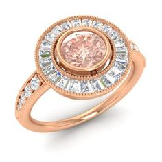 Round 14k Rose Gold Morganite Halo Ring with VS Diamond,SI Diamond
