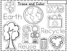 Earth Day - Perfect for little hands as they learn to write. This is a fun 'trace and color' Earth Day themed skill sheet where students will trace the different Earth themed outlines, and then also trace the words 'Earth' , 'Recycle' and 'Reuse'. April Preschool, Kindergarten Science, Kindergarten Graduation, Earth Day Projects, Earth Day Crafts, Earth Day Activities, Spring Activities, Earth Day Worksheets, Free Worksheets