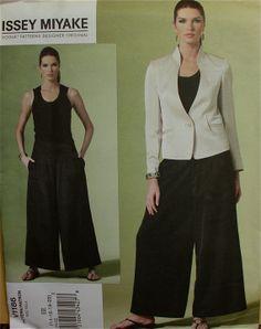 "2010s Jacket & Pants by Issey Miyake Vogue Designer Original Pattern 1186 Uncut  Size 14-16-18-20  Bust 36-38-40-42"""