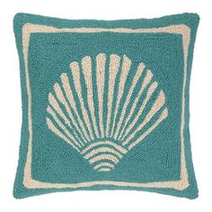 <p> Single Scallop shellon aturquoise pillow. Designed by Kate Nelligan.</p>