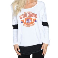 Clemson Tigers Women's College Football Playoff 2016 National Champions Contrast Boyfriend Thermal Long Sleeve T-Shirt - White - $39.99