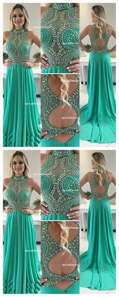 Sexy Open Back Halter Delicately Beaded Green Long Evening Prom Dresses, Popular Cheap Long Custom Party Prom Dresses, 17341