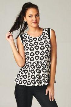 $32 Pleated #Peplum Hearts Print #Tank | The District Boutique #fashion #boutiquefashion