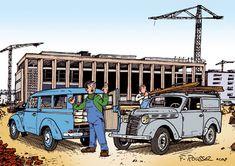 Renault Juvaquatre Automobile, Funky Art, Car Illustration, Motorcycles, Trucks, Cartoon, Retro, Vintage, Caricatures