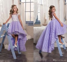 11291586ea8 2017 New Flower Girls Dresses For Weddings Jewel Neck Lilac Lace Appliques  High Low Party Birthday Children Communion Girl Pageant Gowns