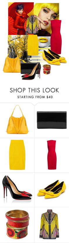 """Red and Yellow"" by enchanticals ❤ liked on Polyvore featuring David Jones, Jonathan Saunders, Dsquared2, Christian Louboutin, Rupert Sanderson, Desigual and Versace"