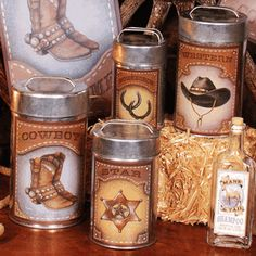 Western Metal Canisters - Set of 4