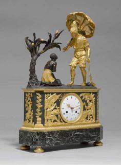 "MANTEL CLOCK ""ROBINSON ET VENDREDI"", c1815/25 Empire/Restoration, the dial signed by the re-seller WUAN OWERKLIFT DE DORCHDRECHT"
