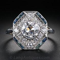 1.28 Ct  Diamond  Calibre Sapphire Art Deco Ring